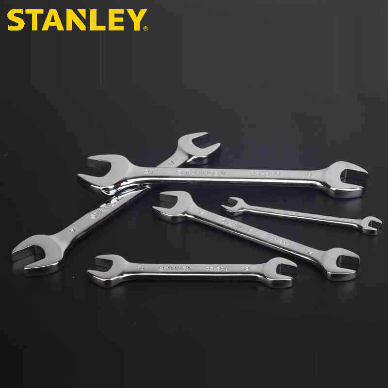 STANLEY/史丹利铬钒钢公制精抛光双开口扳手加厚6~32mm