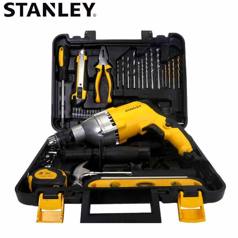 STANLEY/史丹利多功能冲击钻电钻两用电转40件家用电动工具工具箱