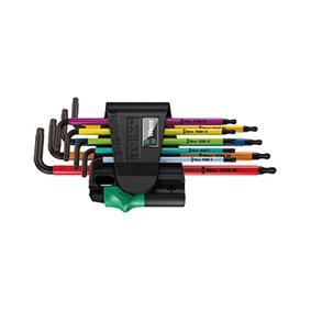 维拉 > TORX® 梅花 L 型扳手 > 967 SPKL/9 TORX® BO 梅花 L 型扳手组套,彩色, BlackLaser 表面处理