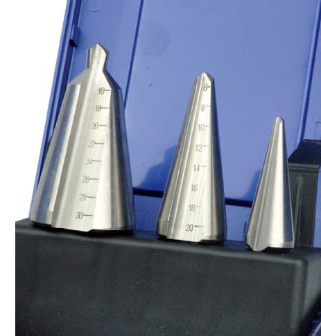 腾迈品牌>刃具>薄板钻(伞形钻)>3件套装高速钢薄板钻-3-30.5mm